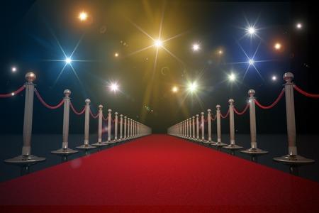 Roter Teppich für VIP. Blitzlichter im Hintergrund. 3D gerenderten Illustration.