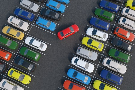 Car is parking in full parking lot. 3D rendered illustration. View from top. Imagens