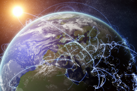 3D rendered illustration of Earth and connected cities. Global network and globalization concept. Stok Fotoğraf