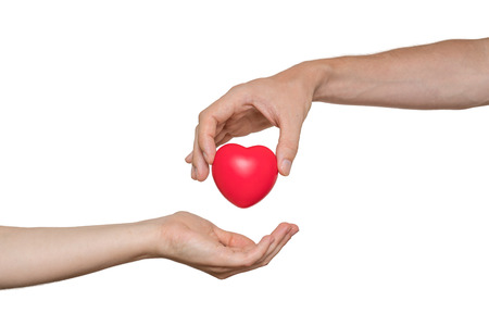 Heart transplant and organ donation concept. Hand is giving red heart. Isolated on white background.