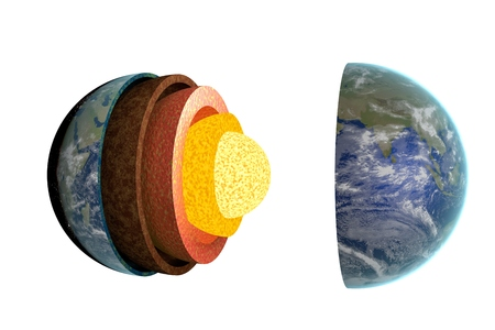 Earth layers and structure. Isolated on white background. 3D rendered illustration.
