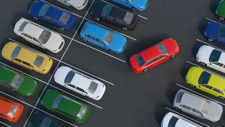 Car is parking in parking lot. 3D rendered illustration. View from top.