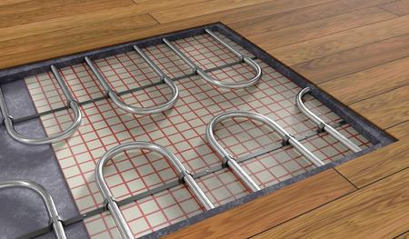 나무 바닥 아래 underfloor 난방 시스템입니다. 3D 렌더링 그림. 스톡 콘텐츠
