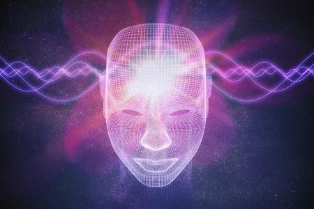 의식, 형이상학 또는 인공 지능 개념. 파도는 인간의 머리를 통과합니다. 3D 렌더링 그림.