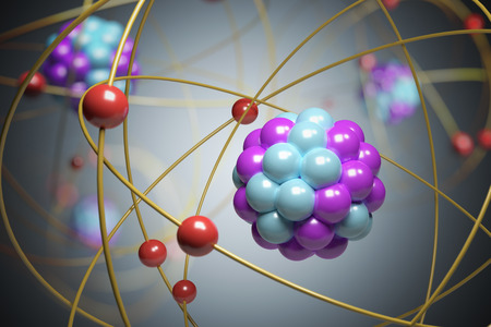 3D rendered illustration of elementary particles in atom. Physics concept.