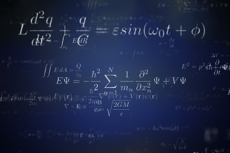 Background of many physical equations and formulas. 3D rendered illustration. Stock Photo