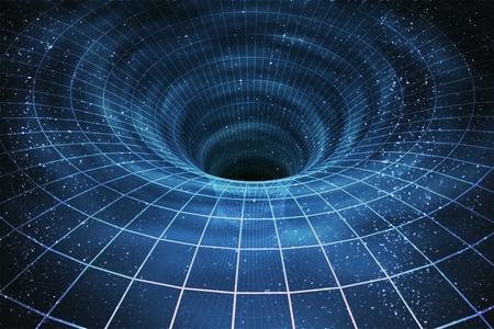 Singularität von massivem schwarzen Loch oder Wurmloch. 3D übertrug Illustration der gebogenen Raumzeit. Standard-Bild