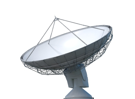 3D rendered illustration of satellite dish or radio antenna. Isolated on white background.
