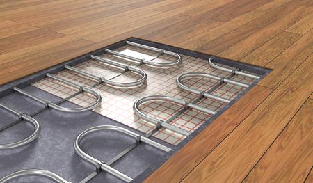 Sistema de calefacción por suelo radiante bajo suelo de madera. 3D rindió la ilustración.