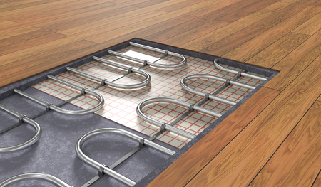 Underfloor heating system under wooden floor. 3D rendered illustration. Stockfoto