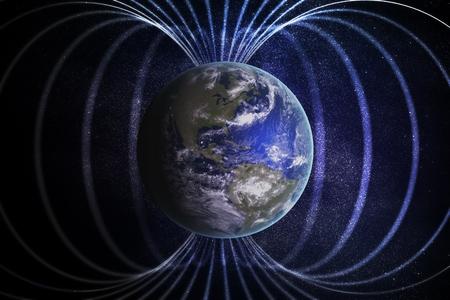 지구 주위의 자기권 또는 자기장. 3D 렌더링 그림. 스톡 콘텐츠