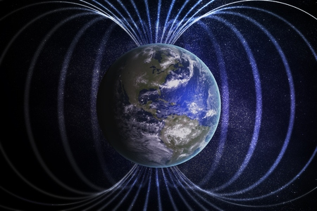 Magnetosphere or magnetic field around Earth. 3D rendered illustration. Reklamní fotografie - 86947013