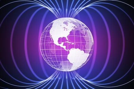 Magnétosphère ou champ magnétique autour de la Terre. Illustration rendue 3D.