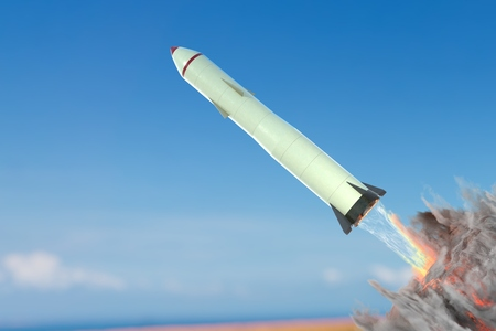 nuclear bomb: Launch of nuclear missile against blue sky. 3D rendered illustration.