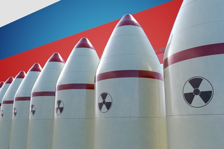 Nuclear missiles and Russian flag in background. 3D rendered illustration. Фото со стока - 87591126