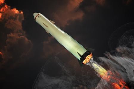 핵 미사일 발사. 주위에 많은 연기가. 3D 렌더링 그림. 스톡 콘텐츠