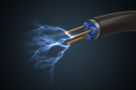 High voltage concept. Electricity sparkles from cable. 3D rendered illustration. Stockfoto