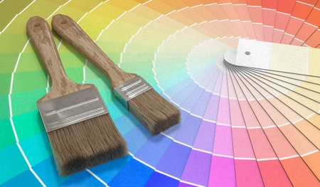 Color palette - guide of paint samples and painting brushes. 3D rendered illustration. Stock Photo