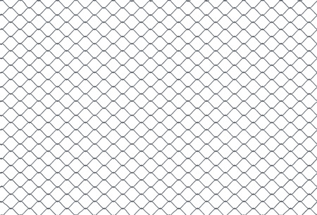 Seamless looping texture of metallic chain link fence on white background. 3D rendered illustration.