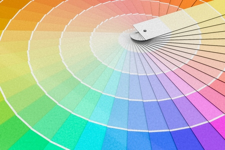 Color palette - guide of paint samples. 3D rendered illustration.