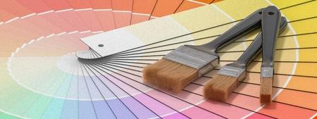 Color palette - guide of paint samples and painting brushes. 3D rendered illustration. Reklamní fotografie - 92814995