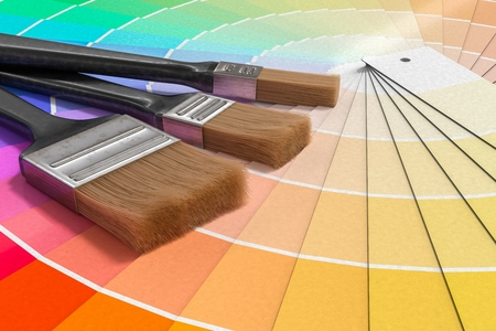 Color palette - guide of paint samples and painting brushes. 3D rendered illustration. Reklamní fotografie - 92817536
