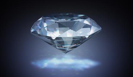 Luxury diamond on black background. 3D rendered illustration.