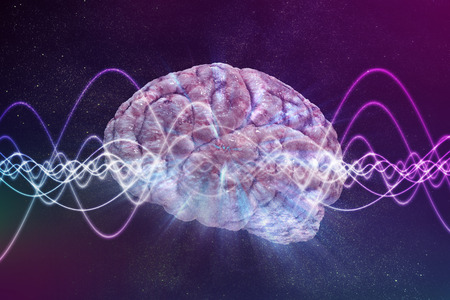 Consciousness concept. Brain and signal waves in background. 3D rendered illustration.