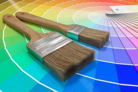 Color palette - guide of paint samples and painting brushes. 3D rendered illustration. Reklamní fotografie - 93607271