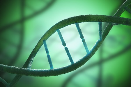 Close up view on spiral DNA molecules. 3D rendered illustration.