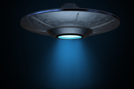 Light beam from flying spaceship. 3D rendered illustration.