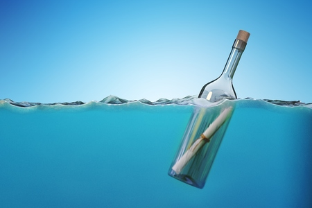 SOS message in bottle floating in sea. 3D rendered illustration. Stock Photo