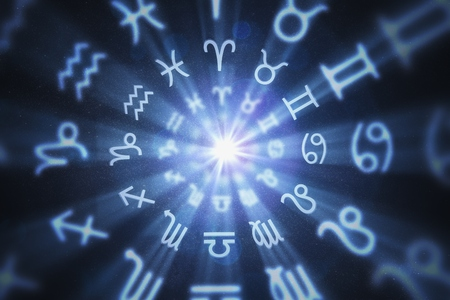 Abstract astrology background with zodiac signs in circle. 3D rendered illustration.