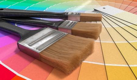 Color palette - guide of paint samples and painting brushes. 3D rendered illustration. Reklamní fotografie - 95901005