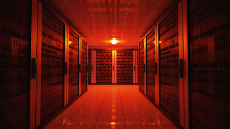 Blackout concept. Emergency failure red light in data center with servers. 3D rendered illustration.