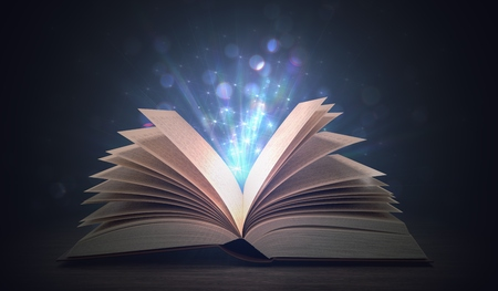 Open shining magic book on dark background. 3D rendered illustration.