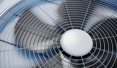 Vista da vicino sulle unità HVAC (riscaldamento, ventilazione e aria condizionata). 3D rendering illustrazione.