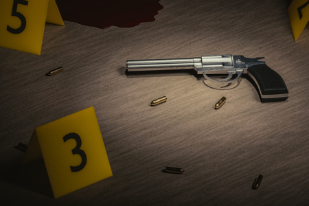 Crime scene. Investigation of murder. Gun and bullets on wooden floor with yellow markers. 3D rendered illustration. Stock Photo