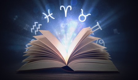 Open shining astrology book with zodiac signs above. 3D rendered illustration. Stock fotó