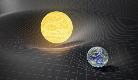 Gravity and general theory of relativity concept. Earth and Sun on distorted spacetime. 3D rendered illustration. Banco de Imagens