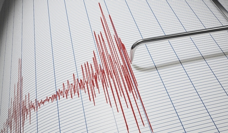 Lie detector or seismograph for earthquake detection. 3D rendered illustration. Stock Photo