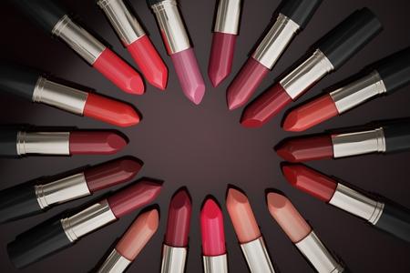 Many lipsticks in circle. 3D rendered illustration.