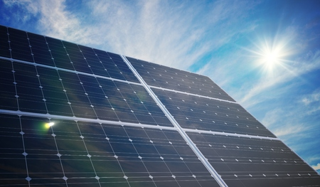 Photovoltaic solar panels. 3D rendered illustration. Stock Photo