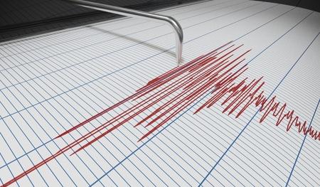 Il sismografo per il rilevamento dei terremoti o il rilevatore di bugie è un disegno grafico. 3D rendering illustrazione. Archivio Fotografico - 96963373