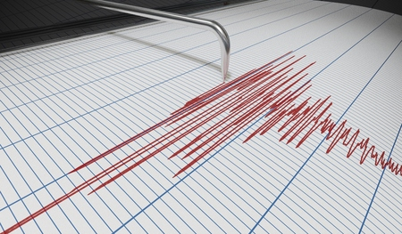 Seismograph for earthquake detection or lie detector is drawing chart. 3D rendered illustration. Banque d'images