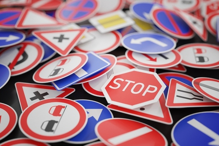 Background of many road signs. 3D rendered illustration. Archivio Fotografico
