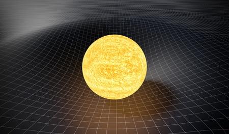 Concepto de gravedad y relatividad general. Espacio-tiempo curvo causado por la gravedad del sol. Ilustración 3D prestados. Foto de archivo