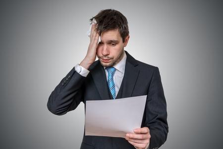 Nervous man is afraid of public speech and sweating. Standard-Bild
