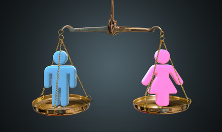 Men and women equality concept. Scales are comparing men and women.