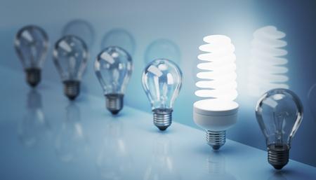 Lámpara fluorescente y bombillas viejas. Ilustración 3D prestados.